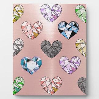 Multi color,gemstone,rose gold,modern,trendy,glam plaque