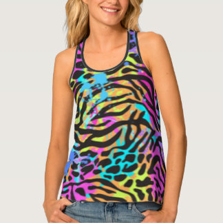 Multi Color Leopard Tiger Pattern Print Design Tank Top