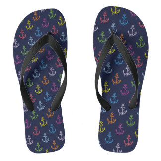 Multi-Color Nautical Boat Anchors Pattern Thongs