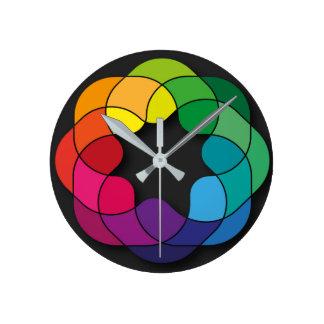 multi color ornament round clock