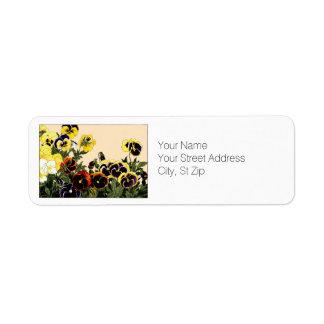 Multi-color Pansies Botanical Art Return Address Label