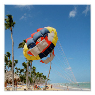 Multi-Color Parasail on Florida Beach Sand Poster