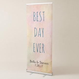 Multi-Color Pastel Best Day Ever Wedding Reception Retractable Banner
