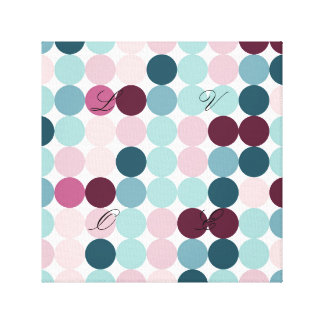 multi color,polka dot,fun,trendy,fun,girly,happy,r stretched canvas prints