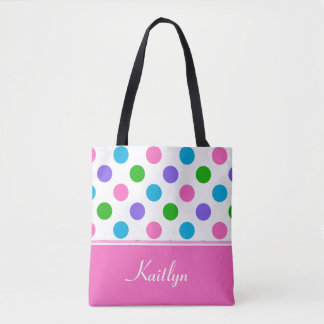 Multi-Color Polka Dots and Pink | Personalized Tote Bag