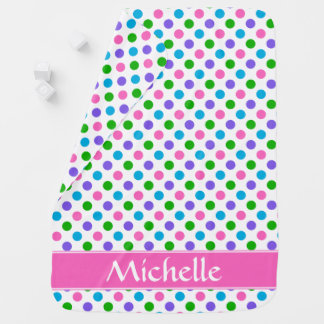 Multi Color Polka Dots | Pink | Personalized Baby Blanket