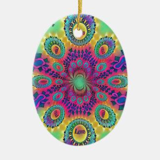 Multi-Color Psychedelic Love is Love Retro Pattern Ceramic Ornament