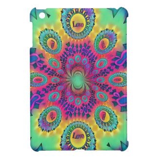 Multi-Color Psychedelic Love is Love Retro Pattern Cover For The iPad Mini