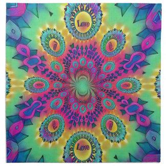 Multi-Color Psychedelic Love is Love Retro Pattern Napkin