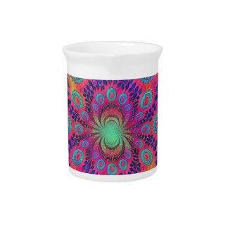Multi-Color Psychedelic Love is Love Retro Pattern Pitcher