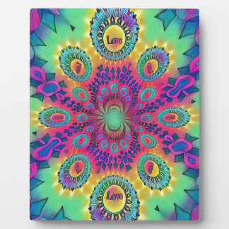 Multi-Color Psychedelic Love is Love Retro Pattern Plaque