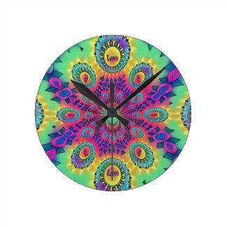 Multi-Color Psychedelic Love is Love Retro Pattern Round Clock
