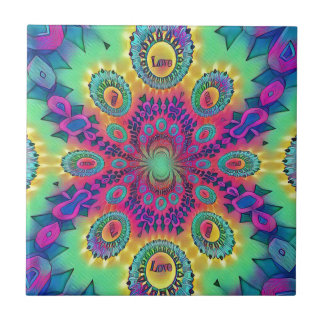 Multi-Color Psychedelic Love is Love Retro Pattern Tile