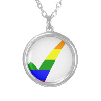 Multi-Color Rainbow Check Mark Silver Plated Necklace