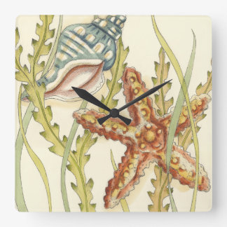 Multi-Color Shell Party Square Wall Clock