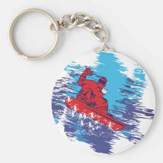 Multi Color Snowbarder Cathching High Snow Drifts Basic Round Button Key Ring