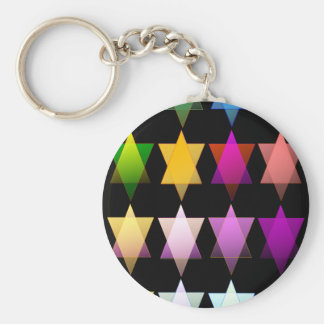 Multi-color Stars of David Key Ring