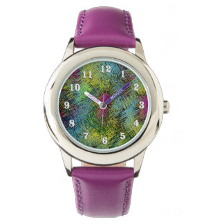 Multi-Color Stitches Easy Read Numbers Kids Watch