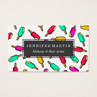 Multi Color Summer Popsicle Pattern Business Card