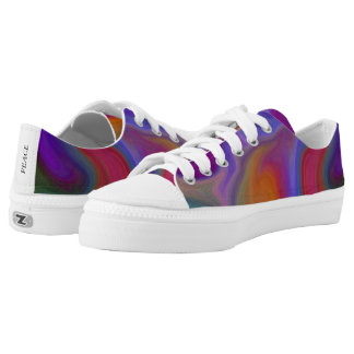 Multi Color Water Pattern Low Top Canvas Shoes