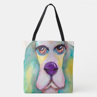 Multi Color Watercolor Basset Hound Tote Bag