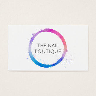 Multi-Color Watercolor Painted Circle Logo Business Card