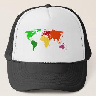 Multi-Color World Map Outline Apparel Trucker Hat