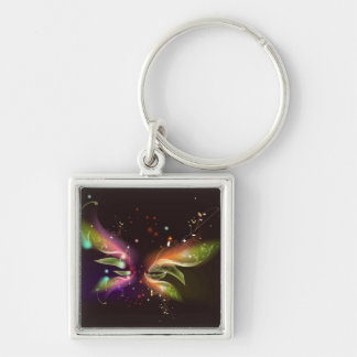 Multi-colored Abstract Butterfly Silver-Colored Square Key Ring