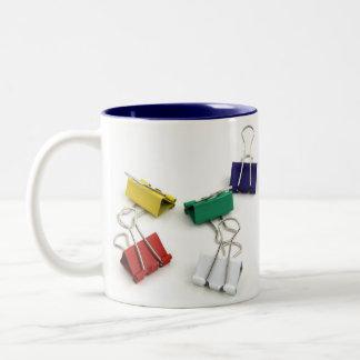 Multi Colored Binder Clips Two-Tone Coffee Mug