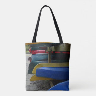 Multi Colored Canoes Tote Bag