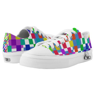 Multi Colored Check Patterned Low Top Printed Shoes