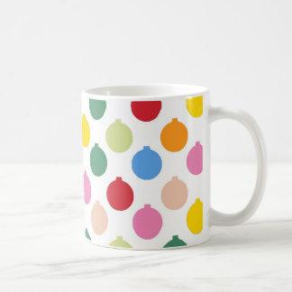 Multi-colored Christmas Ornament pattern Basic White Mug