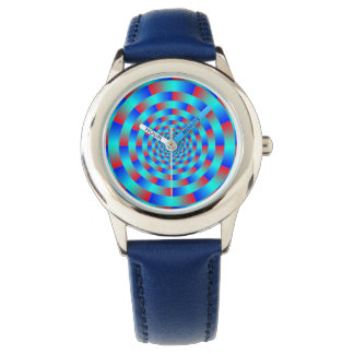 Multi-colored Circle Vortex Illusion, Blue / Red Wrist Watches