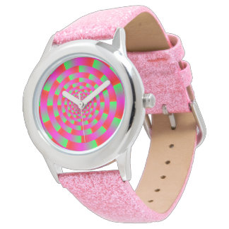 Multi-colored Circle Vortex Illusion, Red / Green Watches
