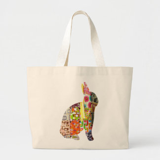 Multi-Colored Cushion Covers Rabbit Tote Bags