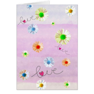 Multi colored daisies and love card