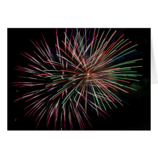 Multi colored fireworks greeting card