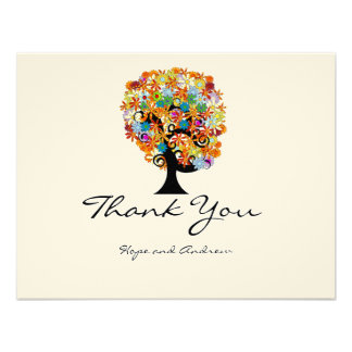 Multi Colored Flower LoveTree Wedding Thank You Custom Announcement