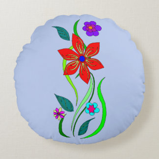 Multi Colored Flowers Round Cushion