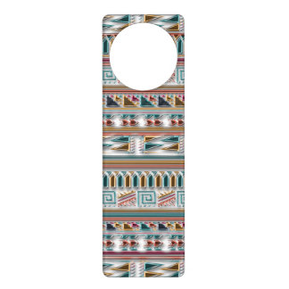 Multi Colored Gems Geometric Aztec Tribal Pattern Door Hangers