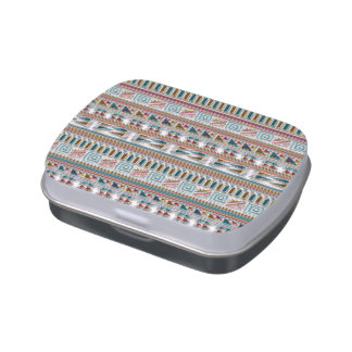 Multi Colored Gems Geometric Aztec Tribal Pattern Jelly Belly Tins