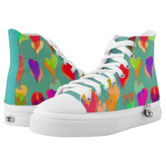Multi Colored Hearts Pattern on Teal High Tops