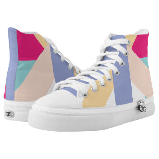 Multi Colored High-Top Men or Women Printed Shoes