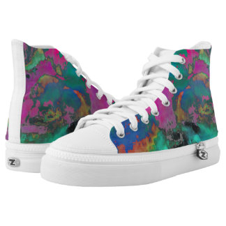 Multi colored high top shoes printed shoes