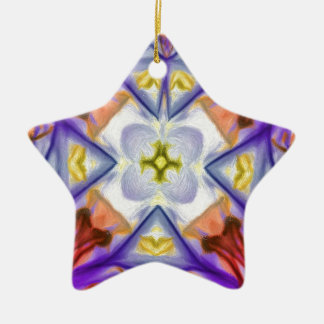 Multi-Colored Kaleidescope Butterfly Abstract Ceramic Star Decoration