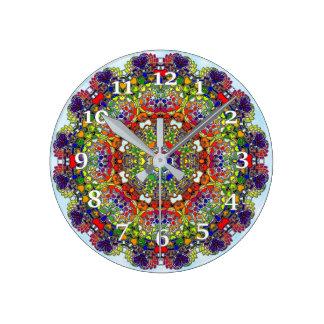Multi Colored Kaleidoscope Round Clock
