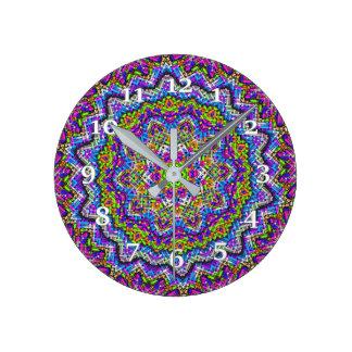 Multi-colored Kaleidoscope Round Clock