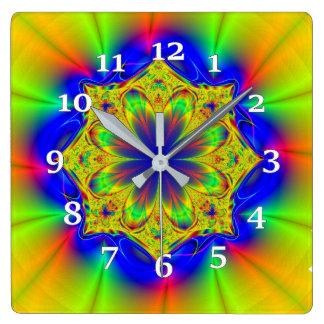 Multi-colored Kaleidoscope Square Wall Clock