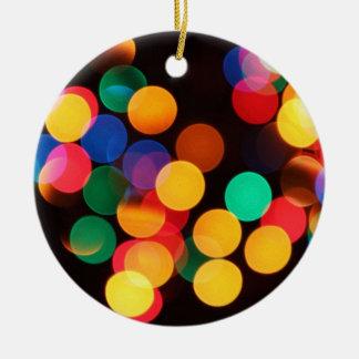 Multi-colored lights round ceramic decoration