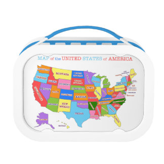 Multi-Colored Map Of the United States Lunch Box